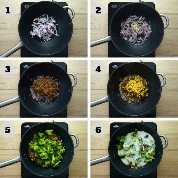 Steps showing a wok on how to make vegetable stir fry with broccoli, brown lentils, sweet corn and dairy-free cream.