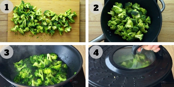 Steps on how to blanch broccoli.