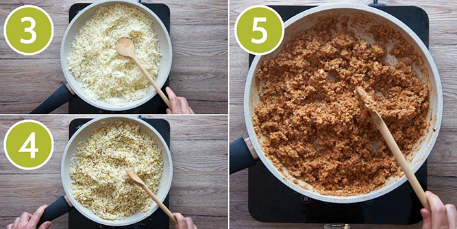 Step photos to show how to make vegan ground beef from cauliflower walnut mince in bolognese sauce