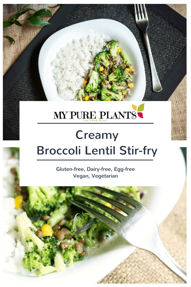 Creamy Broccoli Lentil Stirfry - Need a 30-min vegan, gluten-free, dairy-free dish? Combine crunchy broccoli with tender precooked lentil and finish it with some vegan rice cream.
