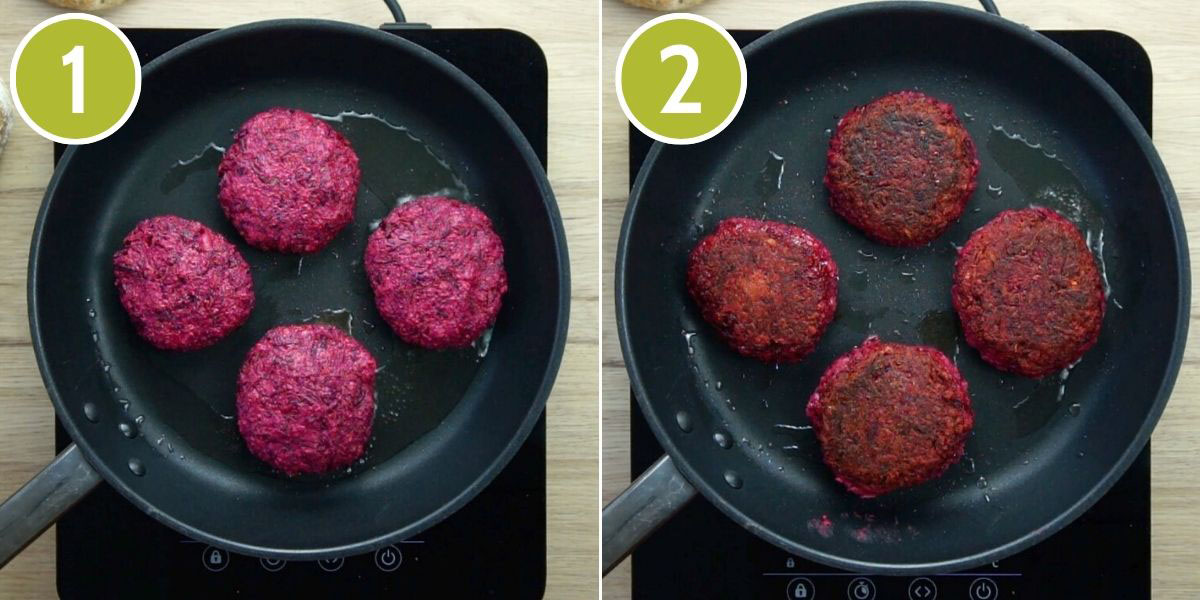 2 photo collage of a frying pan with first 4 purple burgers, then on the second 4 brownish burgers hence they are fried