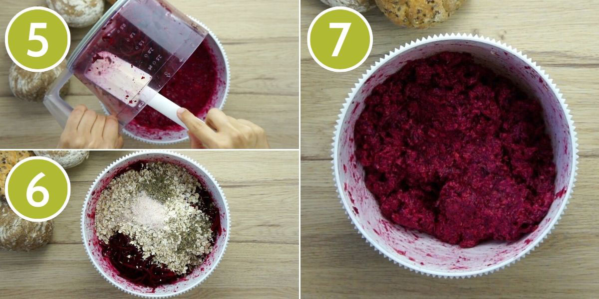3 additional step to make beet burgers showing a white bowl with a purple mixture before mixing, and after mixing