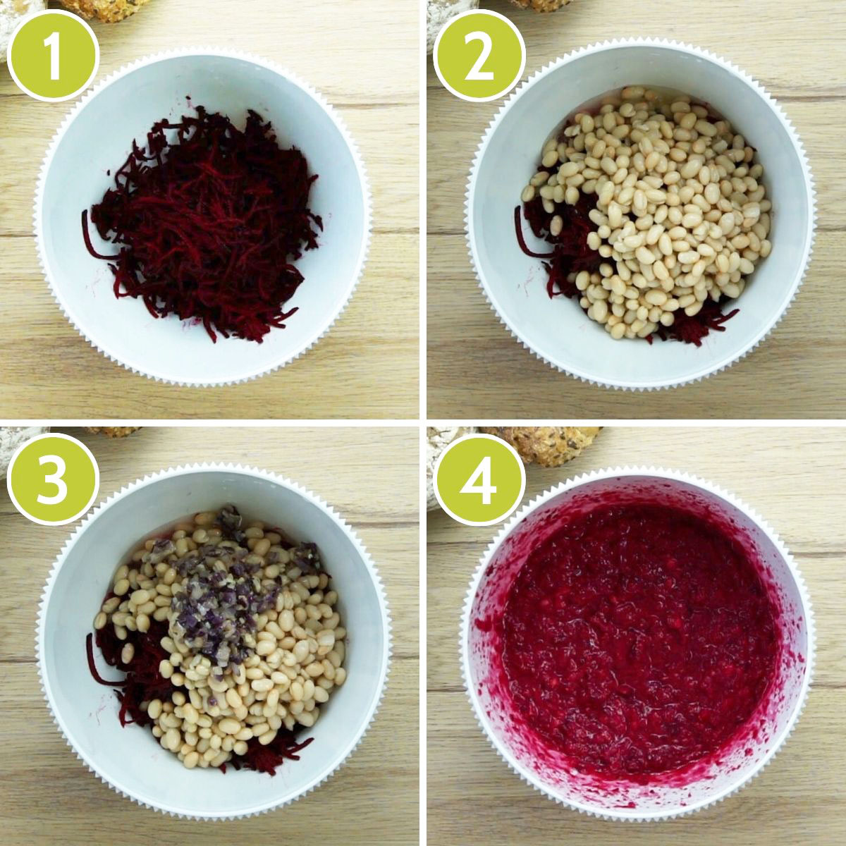 4 photo collage of the first 4 steps to make beet burger showing a white bowl with first grated purple beet, then with white beans on top, then cooked onion and garlic on top. The last show a purple mixture after mixing.