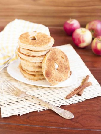 Apple Donut Pancake Batter - Apple donuts fried in a 3-ingredient pancake batter that is plant-based and gluten-free. Then dipped in cinnamon sugar. Yummm!