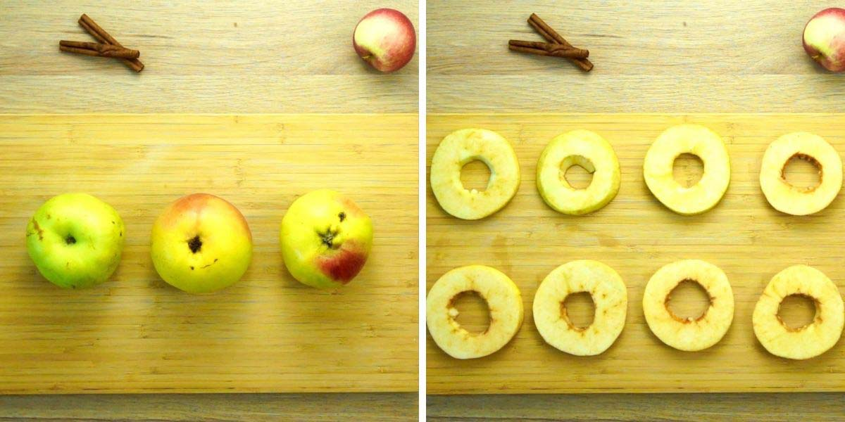 Step photos showing 3 apples unpeeled and then peeled, sliced cored apple rings on wooden cutting board