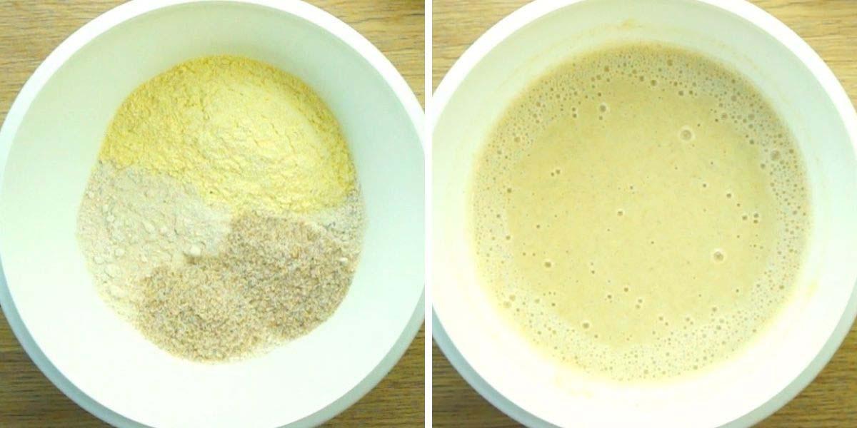 White bowl with psyllium husk pancake batter.