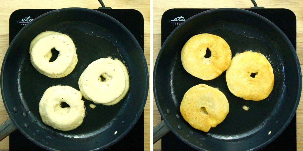 3 battered apple rings are frying in a frying pan. Showing both sides in the two images.