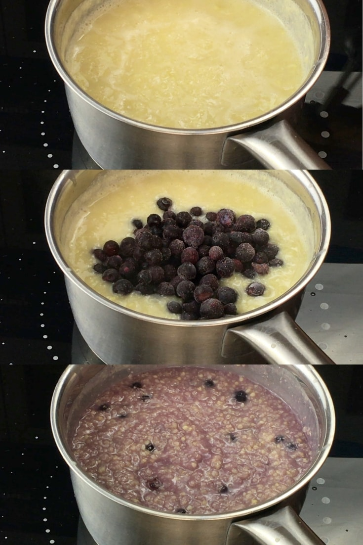 3 pictures of a saucepan with blueberry millet porridge cooking in them. the first is when the milk is almost absorbed by the millet, the second where frozen blueberries were added to the breakfast porridge, the last is the finish purple millet porridge.