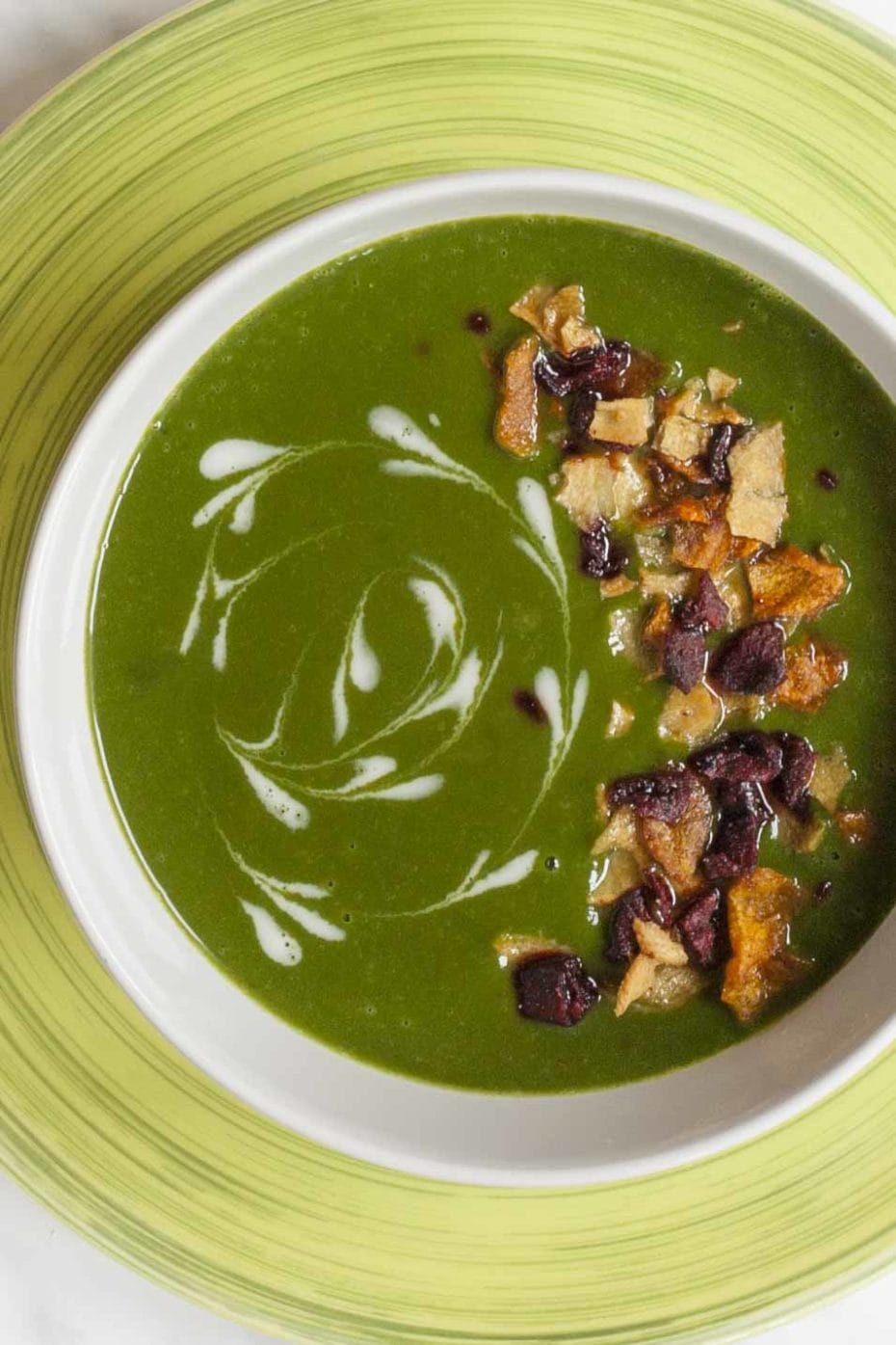 a bowl of green soup sprinkled with vegetable crisps and white swirls.