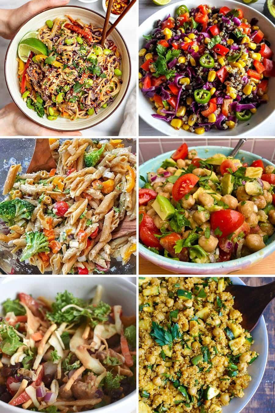 Collage of 6 vegan salad recipes: pasta, noodle, quinoa, chickpea, avocado, zucchini and more