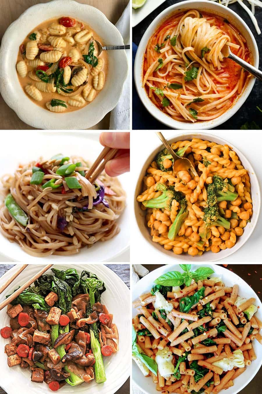 Collage of 6 vegan Asian pasta sauce recipes: coconut curry, pad thai, pad see eew, tahini chickpea, red lentil, and more