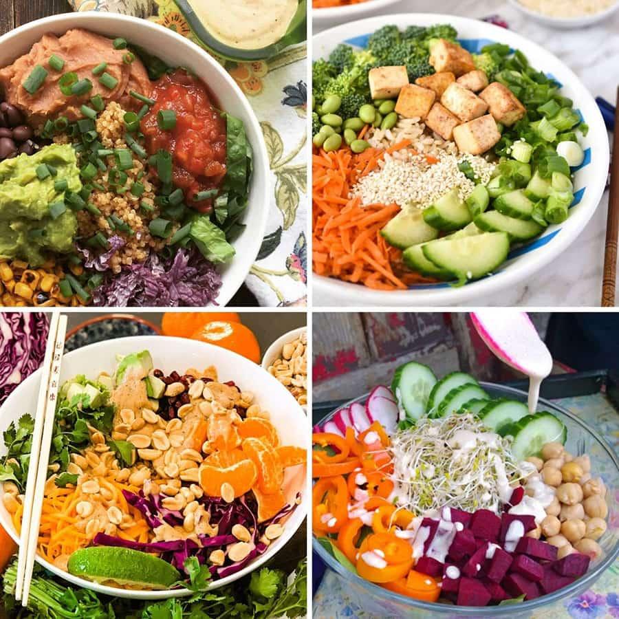 Collage of 4 vegan buddha bowl recipes