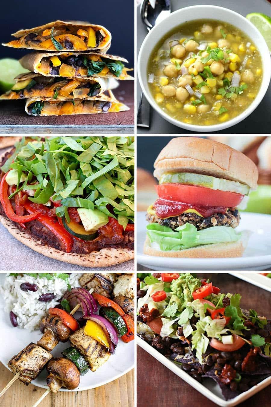 Collage of 6 vegan dinner recipes: quesadilla, chili, pizza, burger, skewer, nachos