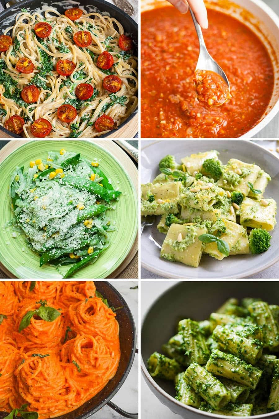 Collage of 6 vegan pasta sauce recipes: alfredo, marinara, creamy spinach, broccoli pesto, roasted red pepper, parsley pesto