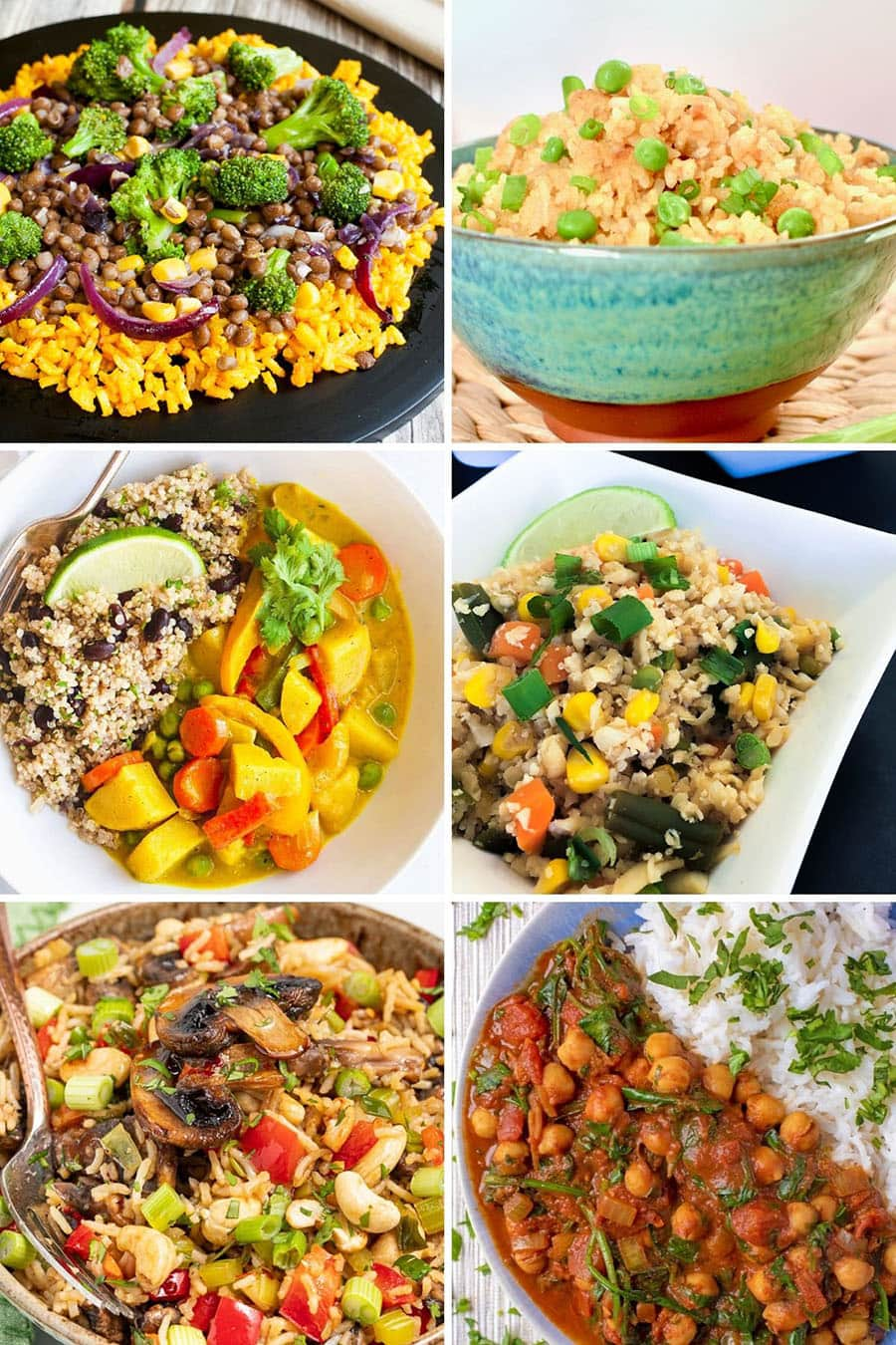 Collage of 6 vegan stir-fry recipes: broccoli, lentil, vegan egg, coconut curry, cauliflower rice, chickpea curry and more