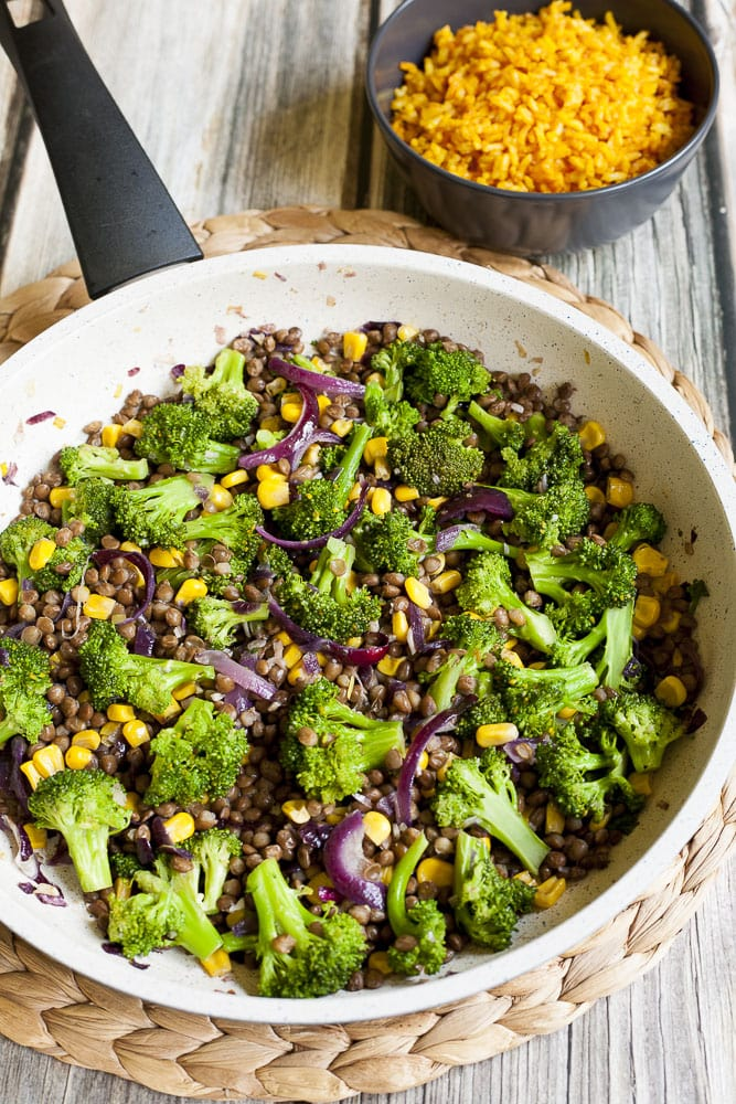 Broccoli Lentil Stir Fry in a frying pan