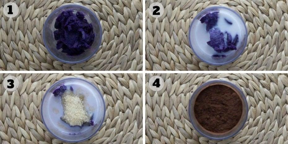 4 steps of how to make chocolate pudding.