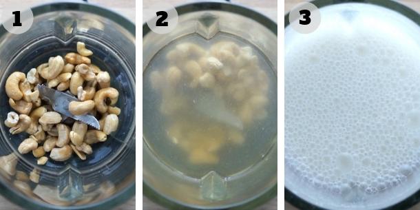 Blender is shown how to make cashew milk