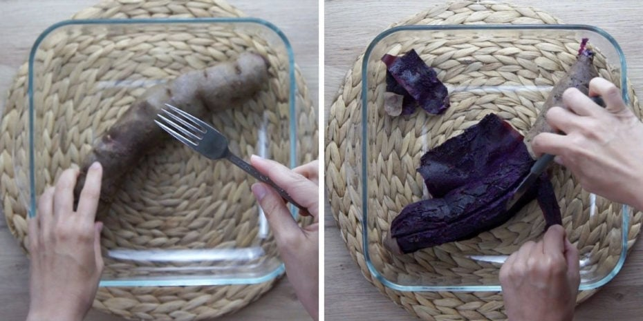 Steps about how to bake purple sweet potato. Poke with a fork, and peel when out of the oven.