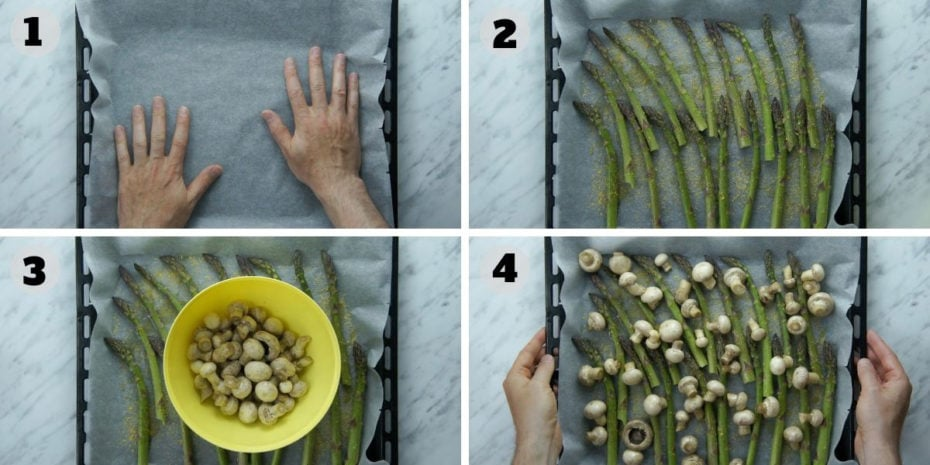4 step photos of roasting asparagus and mushrooms