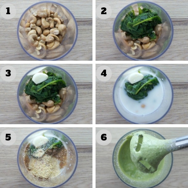 6 step photos showing how to make spinach cashew alfredo sauce with a hand blender