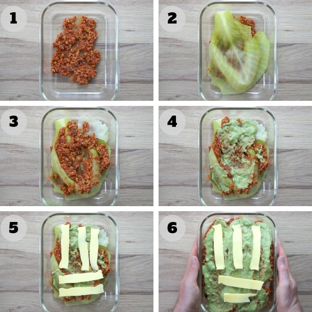 6 steps photos showing the layers of the vegan lasagna