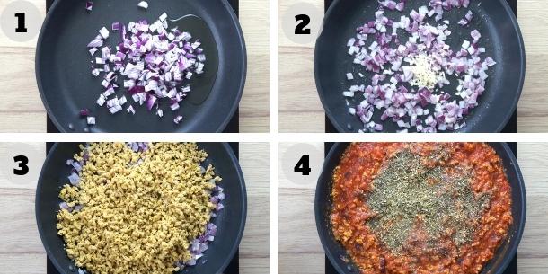 4 step photos showing how to make vegan ground beef in marinara sauce