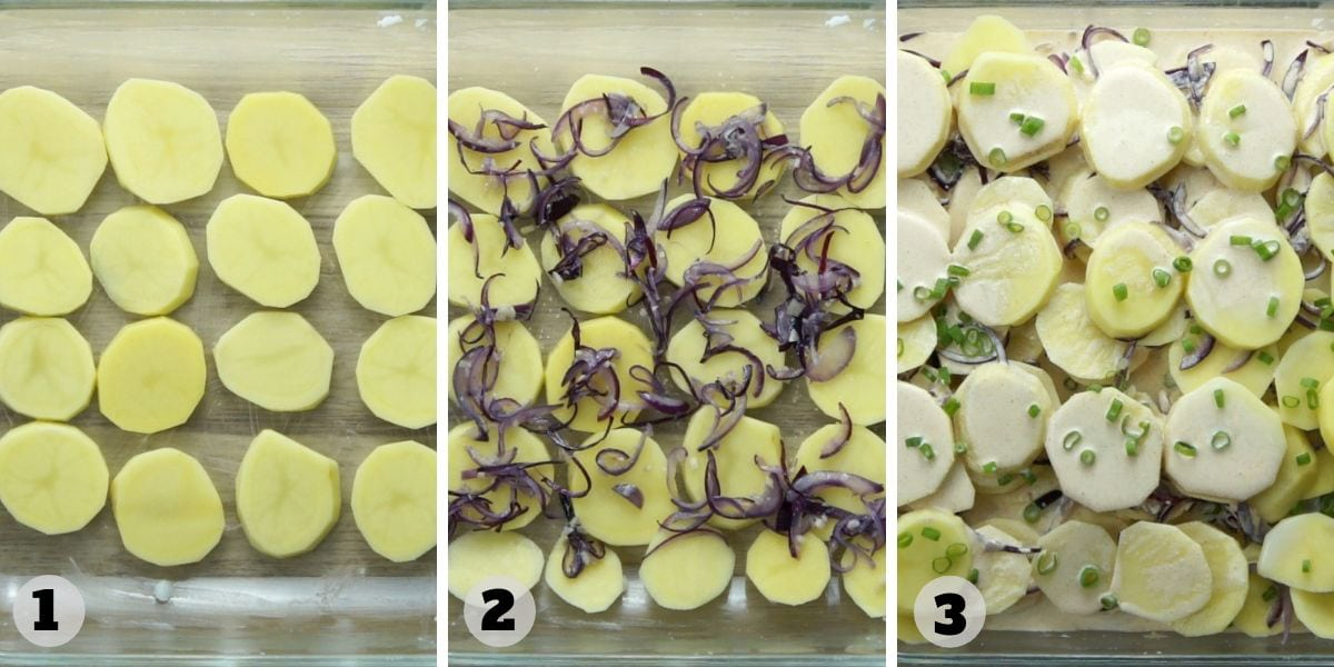 Step photos of assembling. Showing a glass dish with raw potato slices, cooked onion, creamy sauce and chives