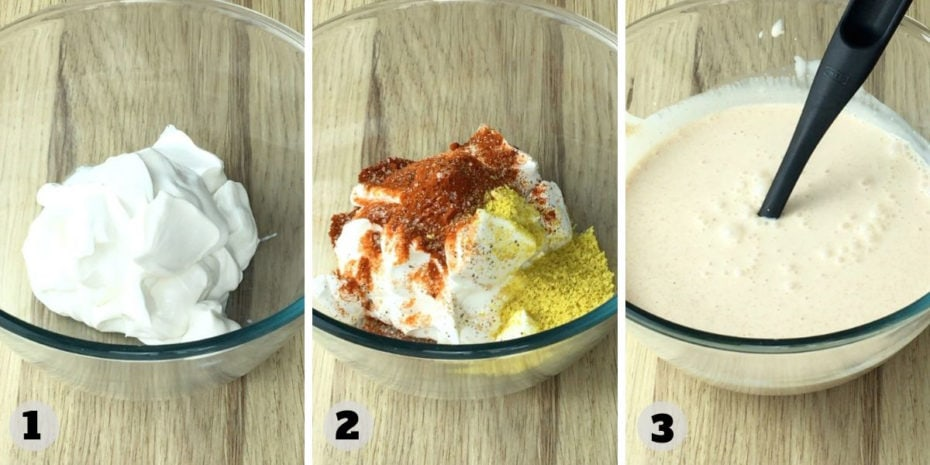 Step photos showing a glass bowl with the ingredients of the white sauce before and after mixing.