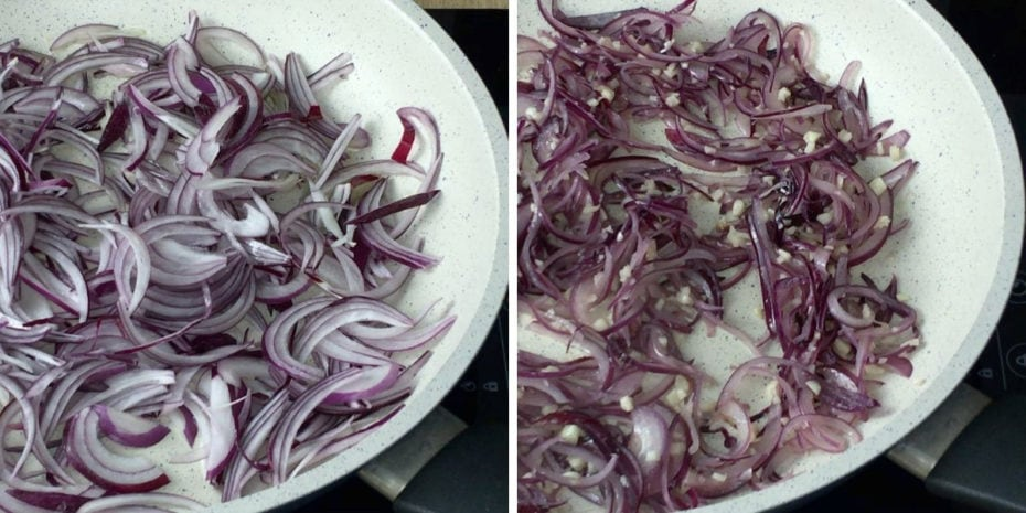 Cooking red onion slices and chopped garlic (close-up of a pan)