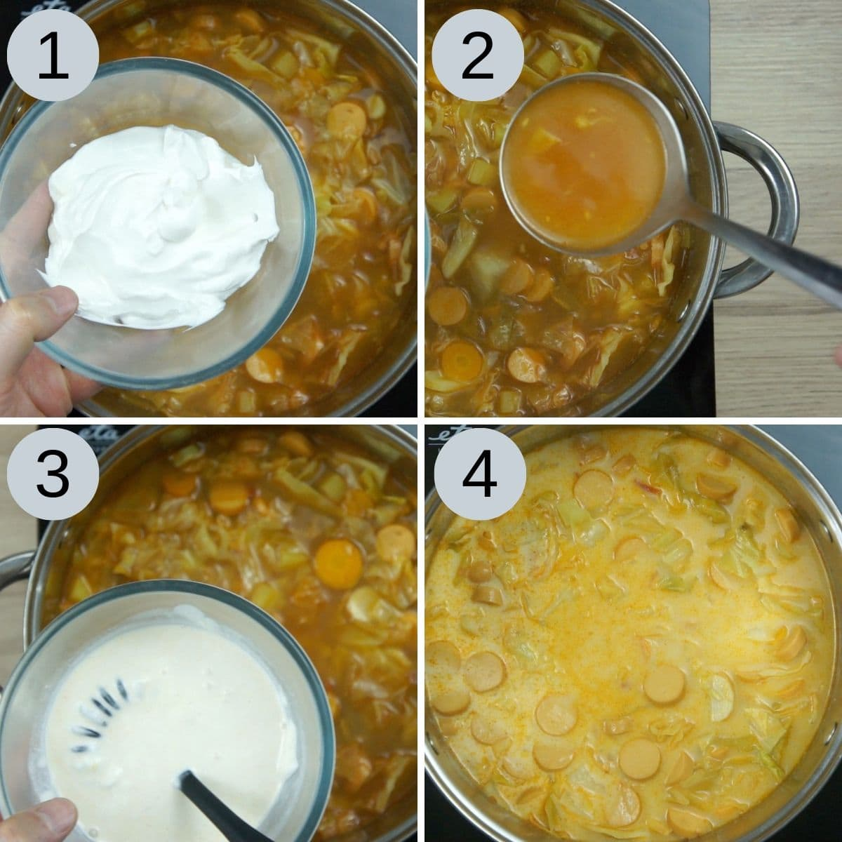 Collage of 4 steps of how to make cabbage soup (adding vegan sour cream)