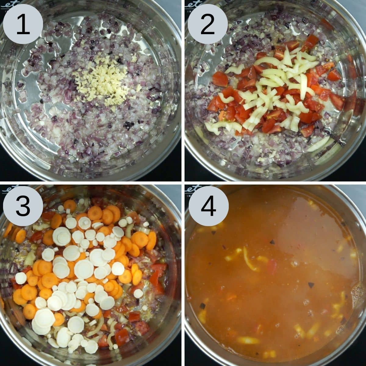 Collage of 4 steps of how to make cabbage soup (adding onion, garlic, tomato, yellow paprika, carrot, parsnip and veggie broth)
