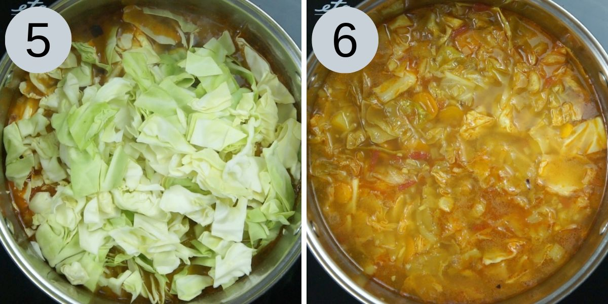 Collage of 2 steps of how to make cabbage soup (adding potatoes, shredded cabbage and vegan sausages)