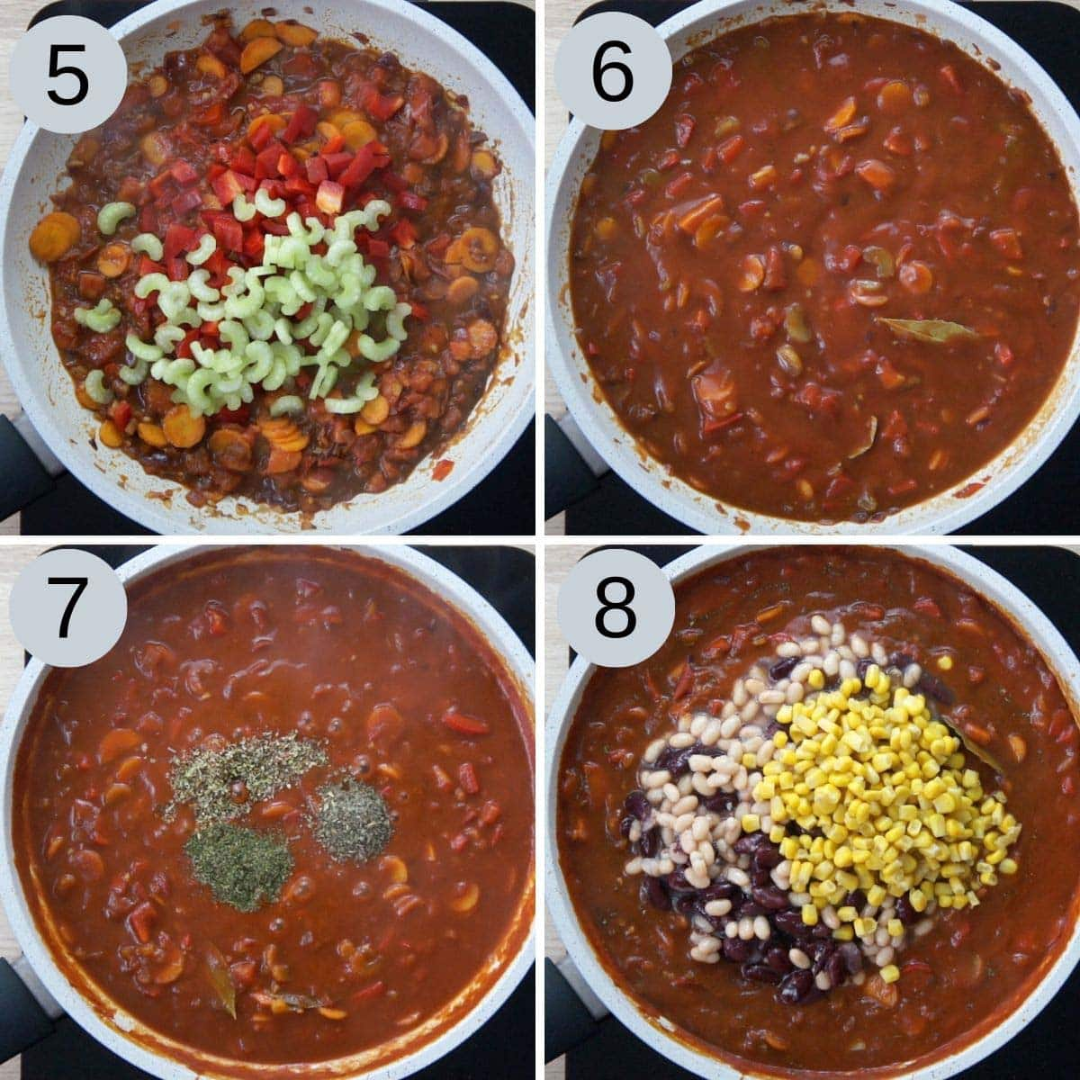 4 steps to make vegan chili. It is a frying pan with vegan chili base where tomato sauce, red wine, seasoning and beans, corns are added.