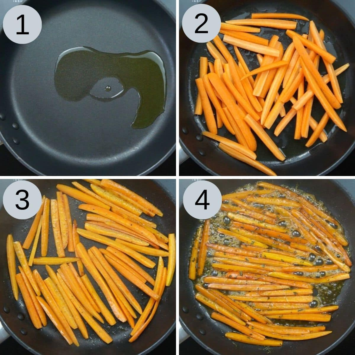Step photos to make sauteed carrots in maple thyme glaze.