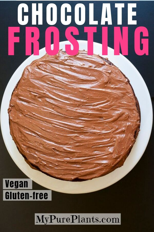 Chocolate cake above that is frosted with this vegan chocolate frosting.
