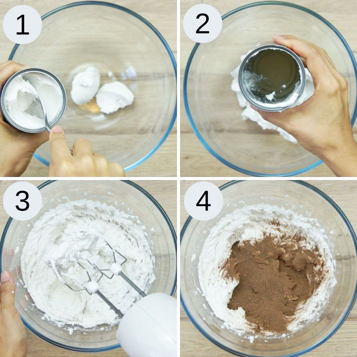 Step-by-step photos on how to make coconut whipped cream and thus vegan chocolate frosting