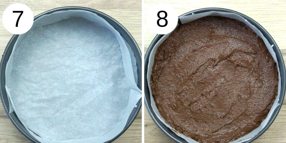 Step photos to make vegan gluten-free chocolate cake. First is a cake pan with parchment paper. On the second the cake pan is full of vegan chocolate cake batter