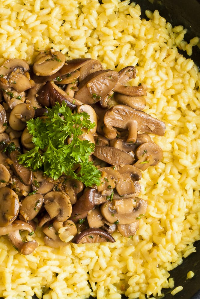 Close-up of our vegan mushroom risotto