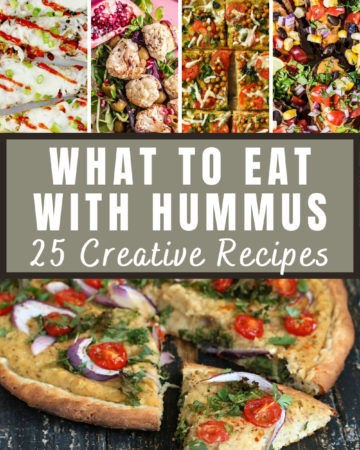 Collage of images showing different ideas what to eat with hummus