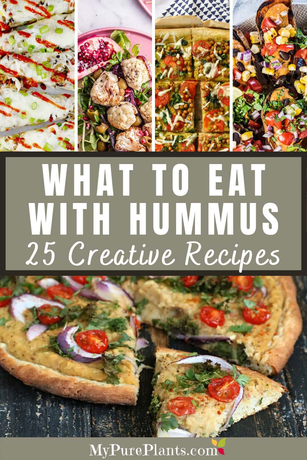 What to eat with hummus collage with different recipes