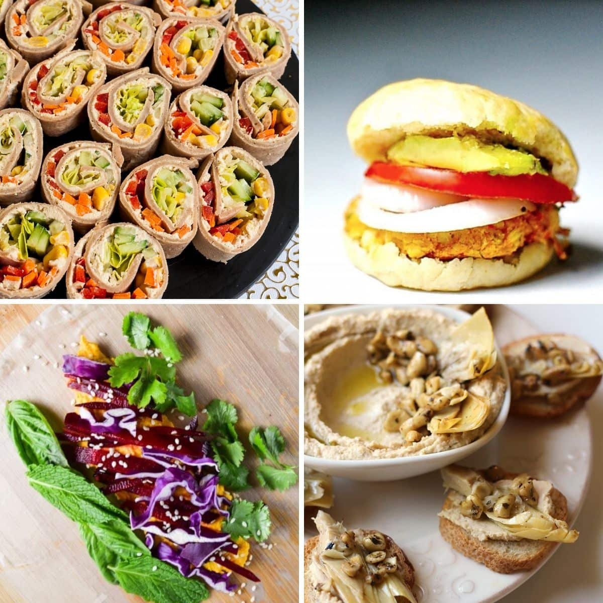 "4 images 4 food: Veggie Pinwheels, Vegan ""Crab"" Cake Sliders with Hummus, Carrot Ginger Hummus Spring Rolls, Artichoke Crostini with Hummus and Marinated Cashews"