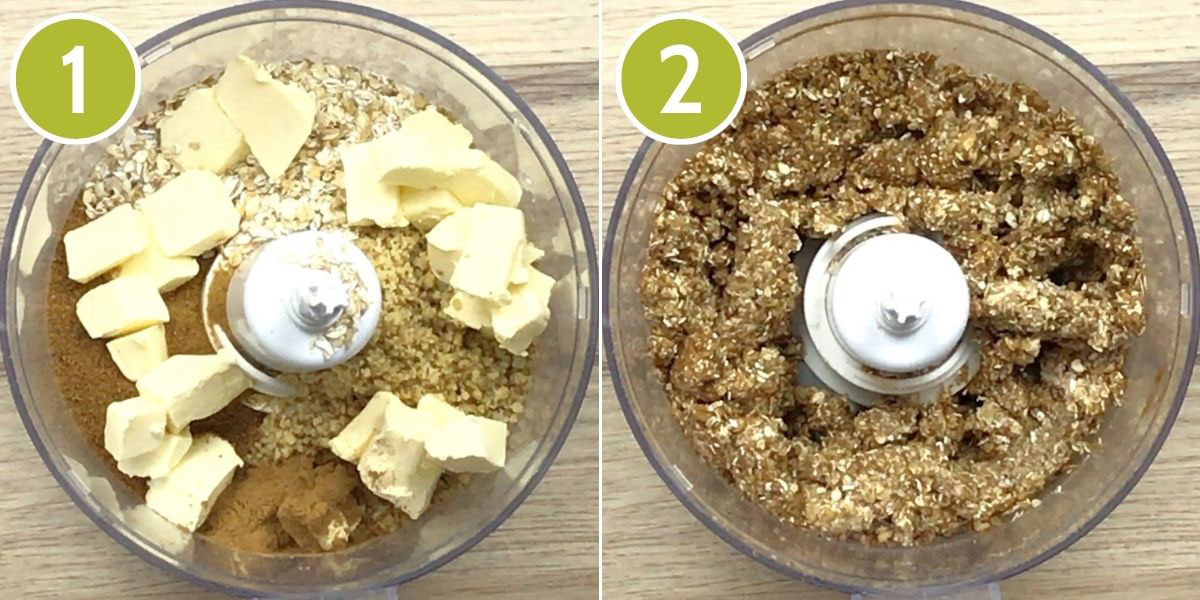 2 photo collage showing a food processor from above with the ingredients of the crisp, yellow butter cubes, brown and yellow powders and meals.