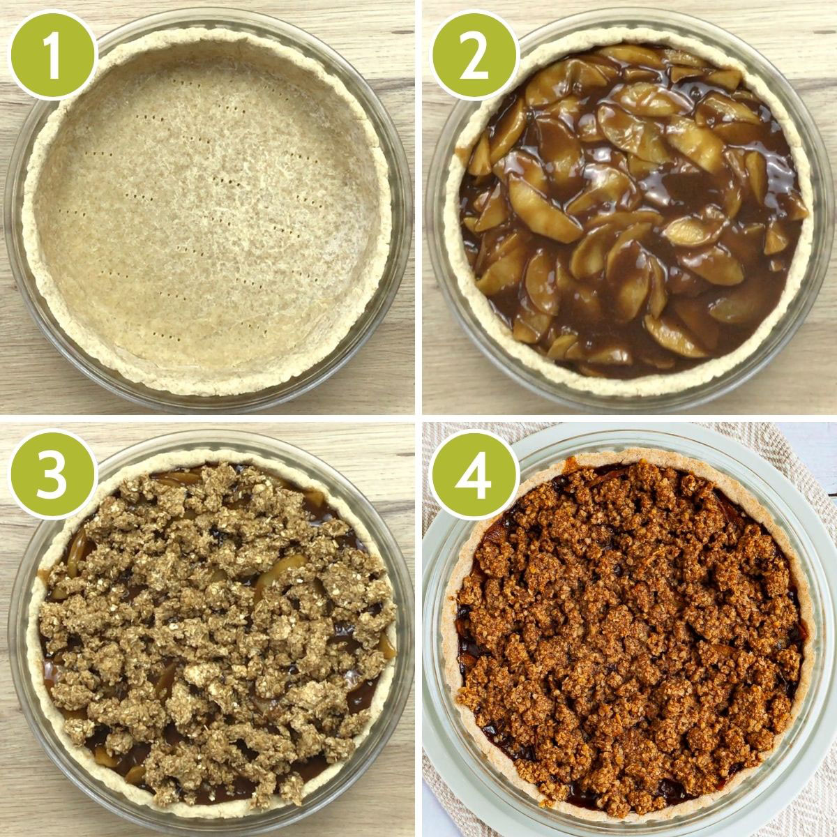 4 photo collage of how to assemble an apple crisp pie showing first the yellow pie crust, then the apple slices in brown sauce, then the crispy topping