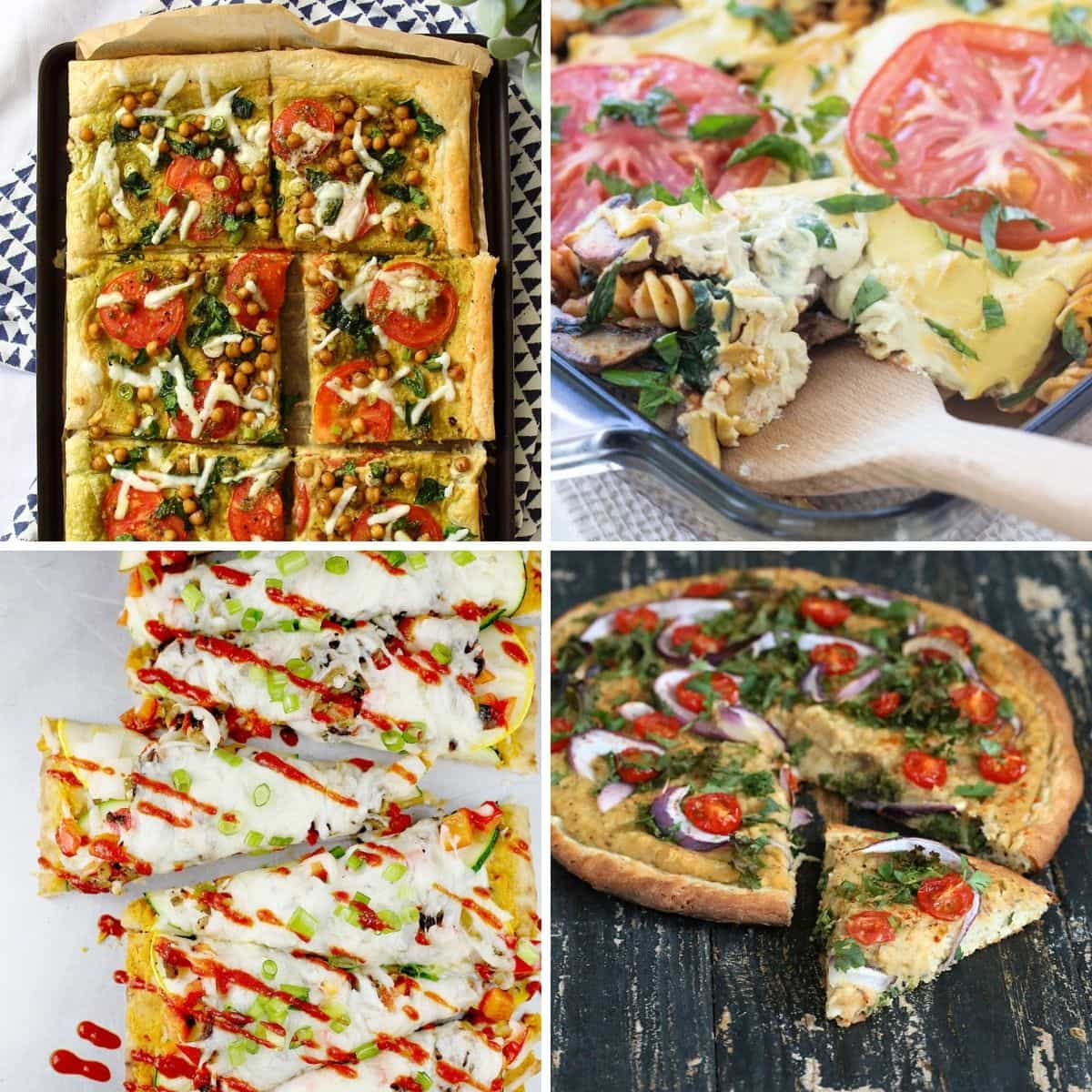 4 images 4 food: Spinach & Tomato Hummus Tart, High Protein Vegan Pasta Bake, Spicy Vegetable Thai Flatbread, Roasted Hatch Chile White Bean Hummus on Quinoa Pizza Crust