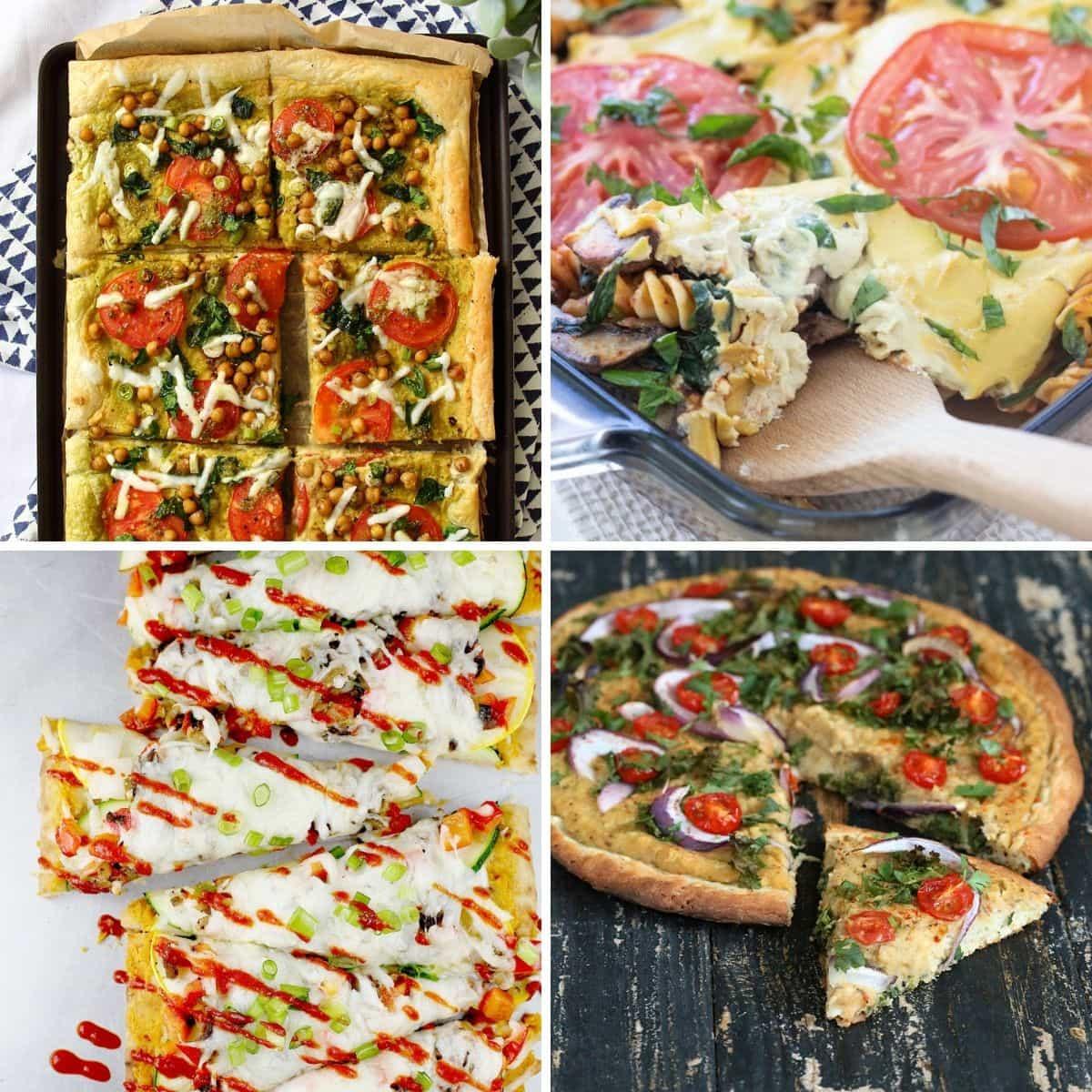 4 images 4 food: Spinach & Tomato Hummus Tart, High Protein Vegan Pasta Bake, Spicy Vegetable Thai Flatbread, Roasted Hatch Chile White Bean Hummus on Quinoa Pizza Crust