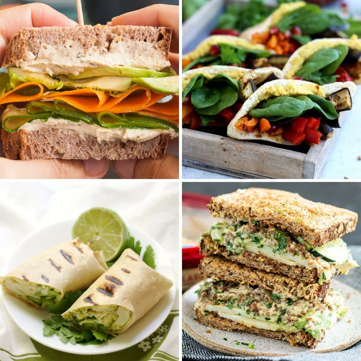4 images 4 food: Veggie-loaded Sandwich, Pita Pockets with Roasted Veggies and Hummus, Grilled Green Goddess Wrap, Tabbouleh Hummus Avocado Sandwich