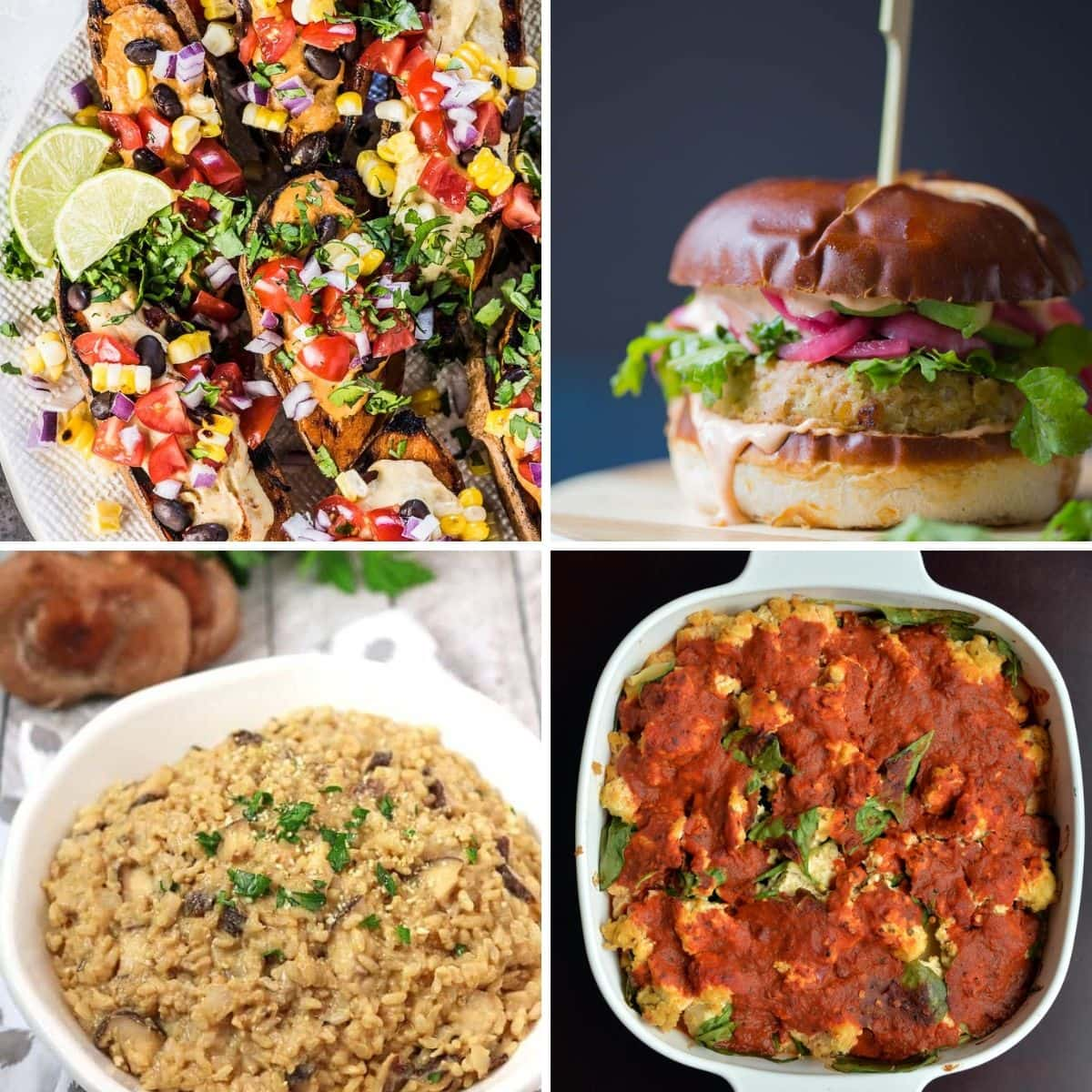 4 images 4 foods: Grilled Southwest Stuffed Sweet Potatoes with BBQ Hummus, Easy Hummus Chickpea Veggie Burgers, Mushroom Hummus Risotto, Vegan Hummus Lasagna