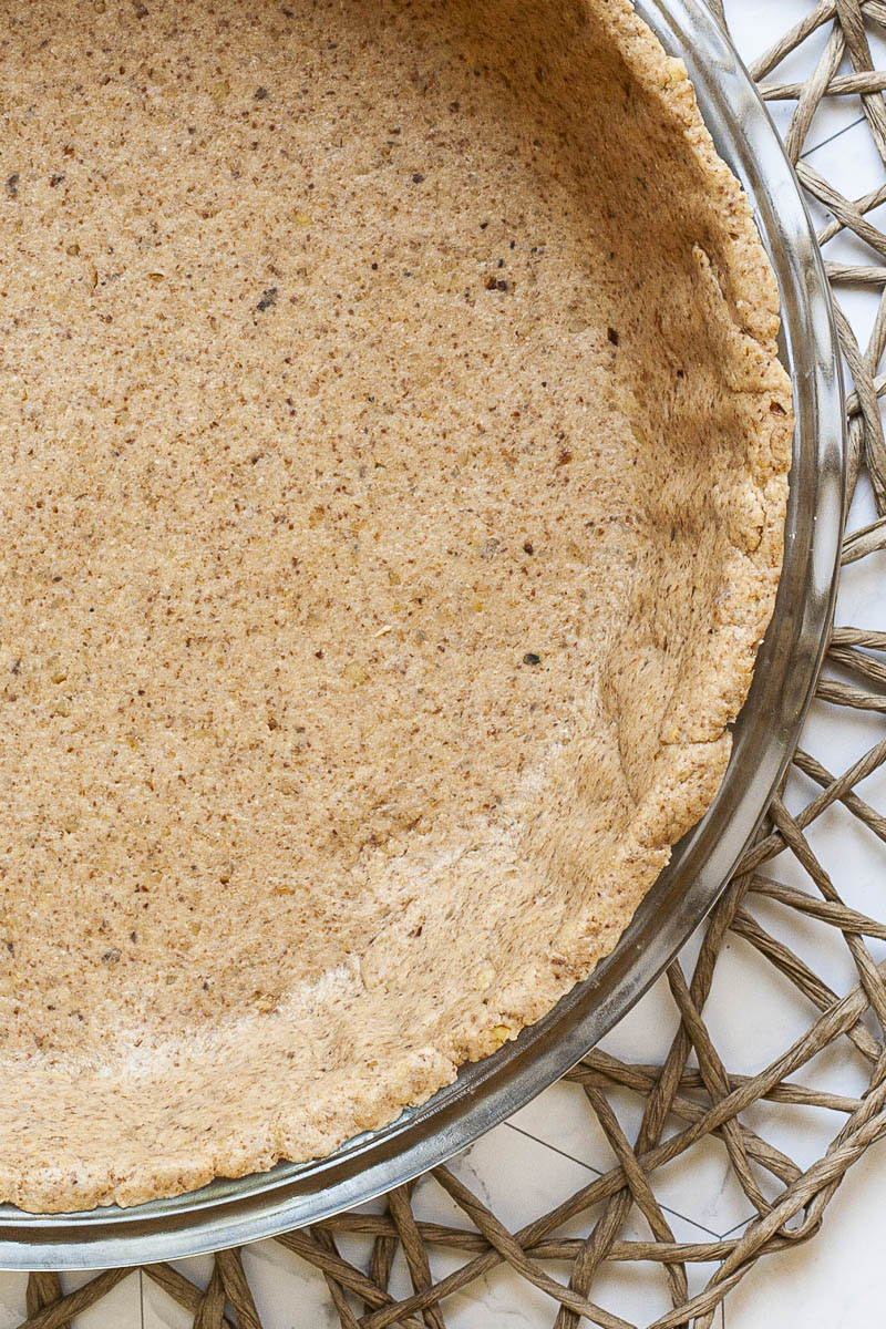 Close-up of gingerbread pie dough to show the texture