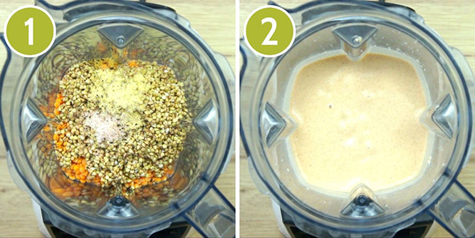 Step photos to make grain-free tortilla showing the blender with the ingredients and then after blending